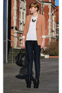 Coral-h-m-blazer-black-asos-wedges-bronze-new-look-necklace