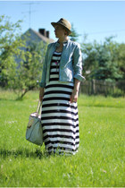 white H&M dress - neutral house hat - light blue Gegrge jacket