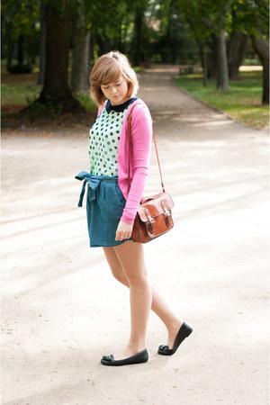 blue pull&bear skirt - tawny New Yorker bag - bubble gum Stradivarius cardigan