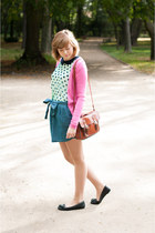 blue pull&bear skirt - tawny New Yorker bag - bubble gum Stradivarius cardigan