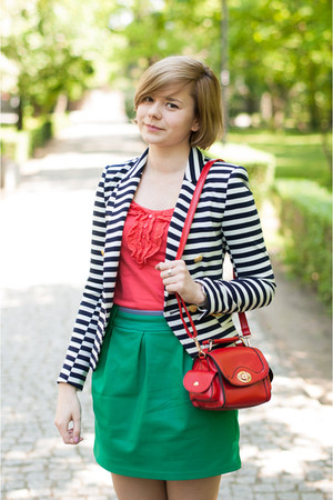 navy H&M blazer - red OASAP bag - teal OASAP skirt
