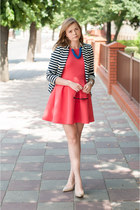 hot pink asos dress - navy H&M blazer - nude Chinese Laundry heels