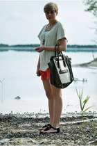 white Mizensa bag - red H&M shorts - black H&M sandals