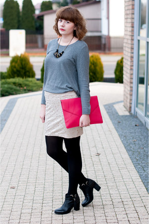 heather gray H&M jumper - hot pink Ebay bag - tan H&M skirt