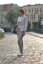 light pink new look blazer - silver Mizensa bag - cream H&M pants - white CCC sn