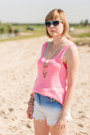 Sky-blue-romwe-shorts-hot-pink-new-look-vest-beige-cubus-necklace