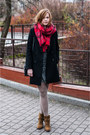 Bronze-zara-boots-heather-gray-vila-dress-black-zara-coat-red-h-m-scarf