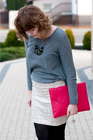 hot pink Ebay bag - gray H&M jumper - beige H&M skirt - black new look necklace