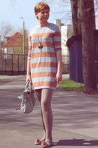 light orange H&amp;M dress - silver etorebka bag - heather gray Shoes flats