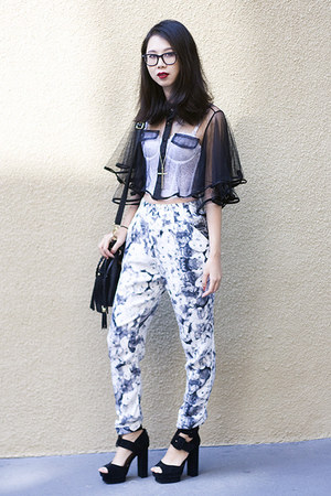 white Nasty Gal top - black Romwecom cape - silver Topshop pants