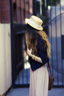 Black-american-apparel-shoes-beige-unknown-hat-navy-urban-outfitters-blazer
