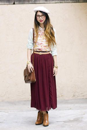 brick red American Apparel skirt - tawny sam edelman boots - ivory H&M hat