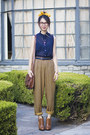 Tawny-sam-edelman-boots-mustard-vintage-pants-navy-american-apparel-blouse