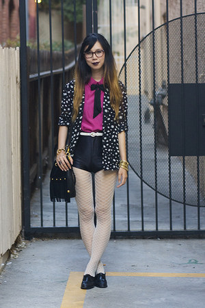 hot pink American Apparel top - black Nasty Gal blazer - black unknown bag