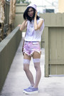 Bubble-gum-unif-shorts-light-purple-tuk-shoes-periwinkle-thank-you-mart-hat