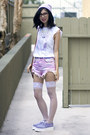 bubble gum UNIF shorts - light purple TUK shoes - periwinkle Thank You Mart hat