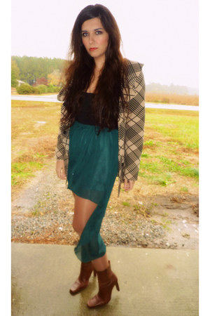 teal Ebay skirt - tawny vintage boots - nude gift jacket - black Express top