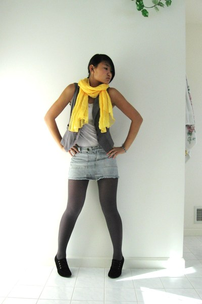 Wet Seal scarf - Mossimo vest - tights - Forever 21 shirt - shoes - skirt