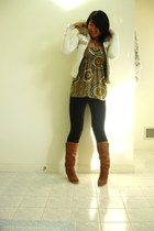 Abercrombie jacket - Wet Seal top - Piper and Blue pants - boots