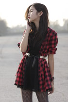 black H&M dress - brick red Wet Seal shirt - light purple Forever 21 tights