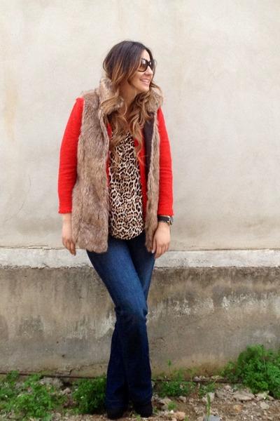 red Zara blazer - blue Gap jeans - fur Stradivarius vest