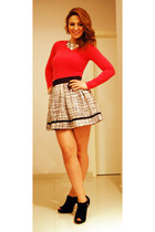skirt - black shoes - hot pink blouse