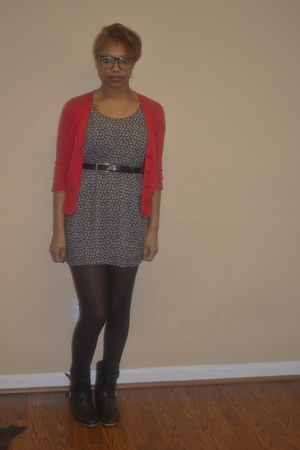 H&M dress - Target tights - alloy cardigan - vintage belt - H&M glasses