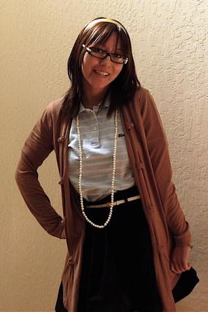 light blue Lacoste top - Forever 21 skirt - H&M belt - camel cardigan