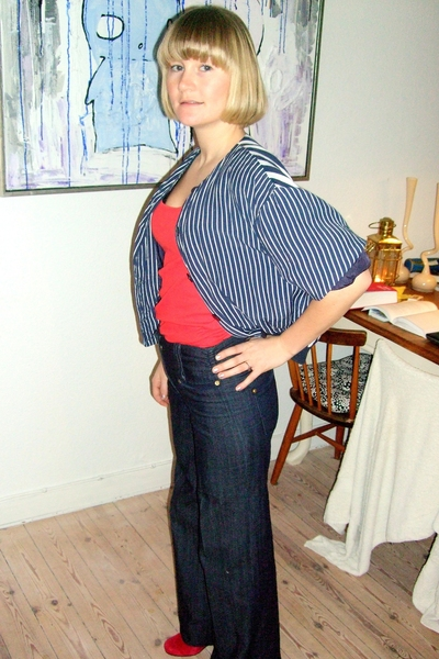 second hand blazer - Topshop top - Vila jeans - zento shirt