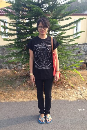 black H&M jeans - orange Mango bag - black Topman t-shirt