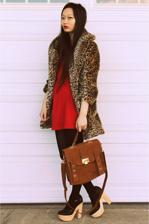 satchel bag - red dress  dress - leopard coat Cotton Candy coat