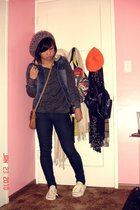 blue vest - gray sweater - white jack parcell shoes - brown purse - purple H&M