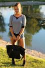 Black-ankle-boots-lc-lauren-conrad-boots-aquamarine-cutoff-forever-21-shorts
