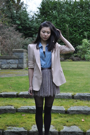light pink Zara blazer - light blue Talula shirt - light pink H&M skirt - black