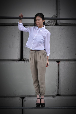 white DIY shirt - dark khaki wilfred pants - black Jeffrey Campbell wedges