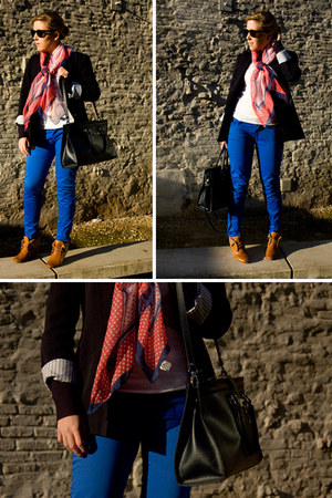 blazer - scarf - bag - sunglasses - top - pants