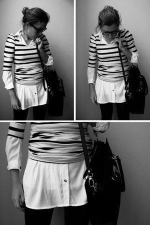 blouse - tights - bag
