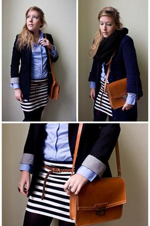 H&M skirt - H&M belt - Maket bag - Zara blazer - A am Six ring - Zara blouse