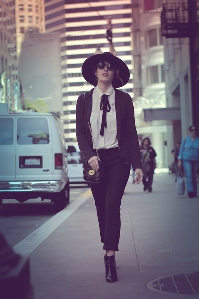 black Zara boots - black H&M hat - black Marc by Marc Jacobs blazer