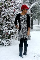 black leather boots - black and white hm dress - ruby red hat - black sweater