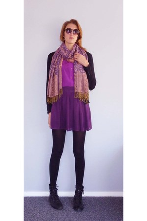 purple skirt - magenta cotton on shirt - amethyst scarf