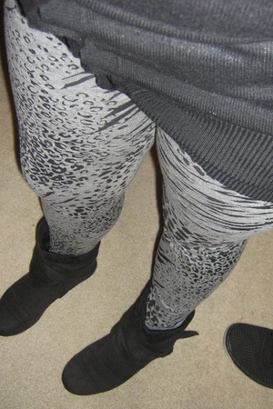 black cardigan - black shoes - gray Target leggings - white top