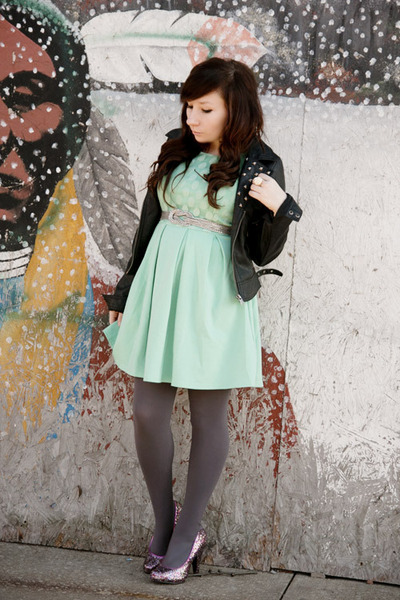 modcloth dress - BB Dakota jacket - Express tights - Gabriel Brothers heels
