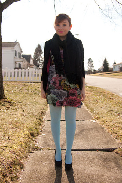 We Love Colors tights - Forever 21 dress - H&M blazer - Target heels