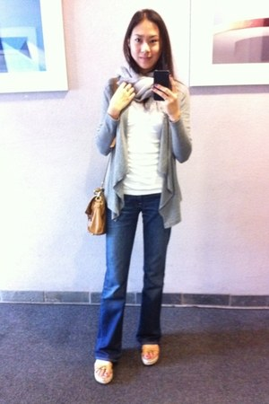 7 for all mankind jeans - Look by M scarf - leather satchel Topshop bag - Old Na