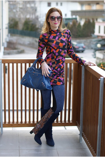carrot orange cesare paciotti blouse - navy fold-over suede asos boots