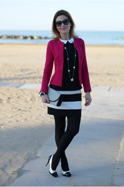 black striped Zara shorts - hot pink Fiona C blazer