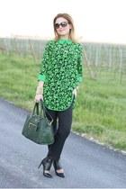 green taara necklace - green Prada bag - black joseph pumps