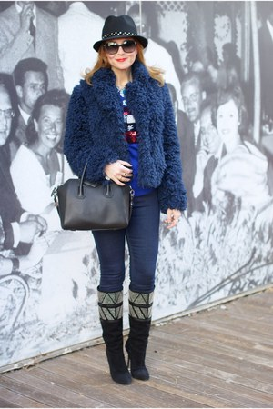 navy So Allure jacket - black cesare paciotti boots - navy Zara jeans