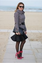 black Zara jacket - black clutch Zara bag - black Miu Miu sunglasses